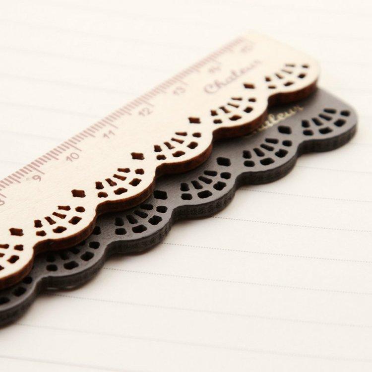 Dark Brown Wooden Lace Pocket Ruler