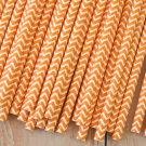 Orange Chevron paper straws
