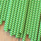 Kelly Green Chevron paper straws
