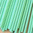 Light Aqua Chevron paper straws