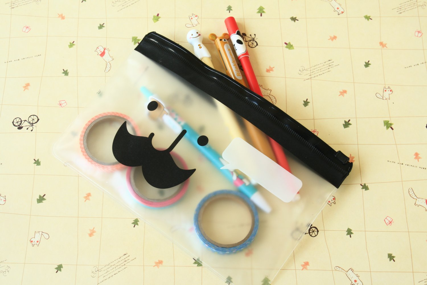 Mr Babba Mustache pen bag pouch cosmetic case