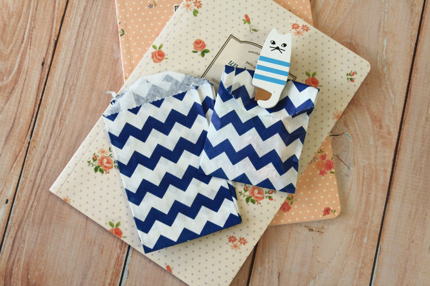 Navy Blue Chevron Itty Bitty Bags small paper bags