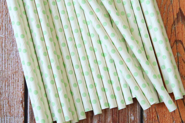 Light Green Swiss Dots paper straws