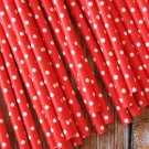 Solid Red Swiss Dots paper straws