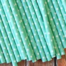 Solid Light Blue Swiss Dots paper straws