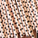 Light Pink & Black Swiss Dots paper straws