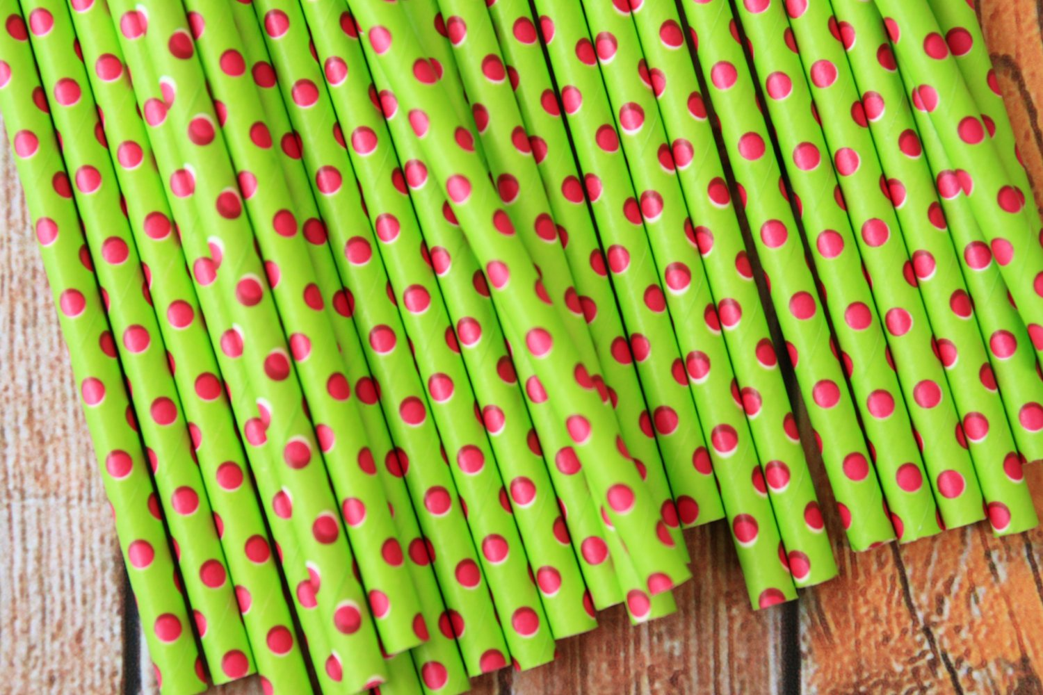 Lime Green & Hot Pink Swiss Dots paper straws
