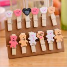 Cute Teddy Bear Wood Pegs Clips