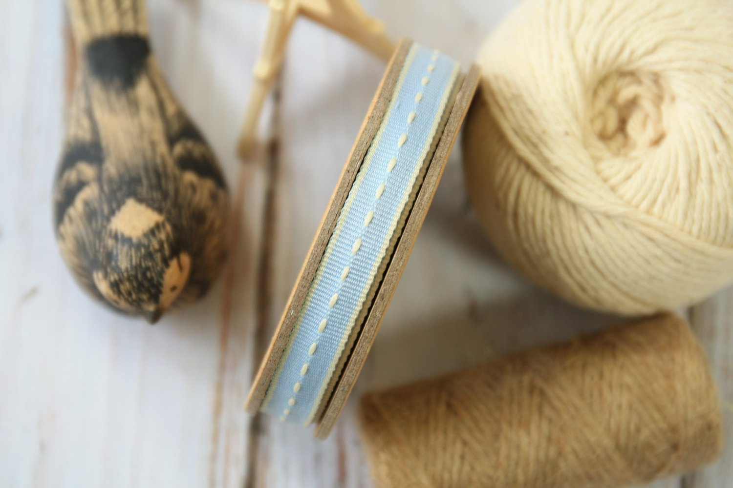 East of India Light Blue Thin Stitched ribbon