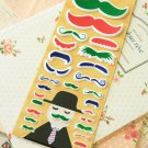 Green Happiness Mustache cartoon puffy stickers