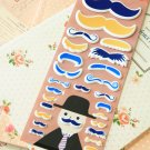 Blue Happiness Mustache cartoon puffy stickers