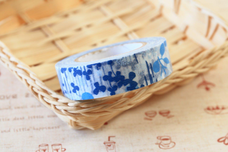 Blue Flowers Classiky Ten to Sen Cartoon Washi Tape Set