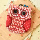 Red Ditsy Owl Vintage Floral Clasp Purse