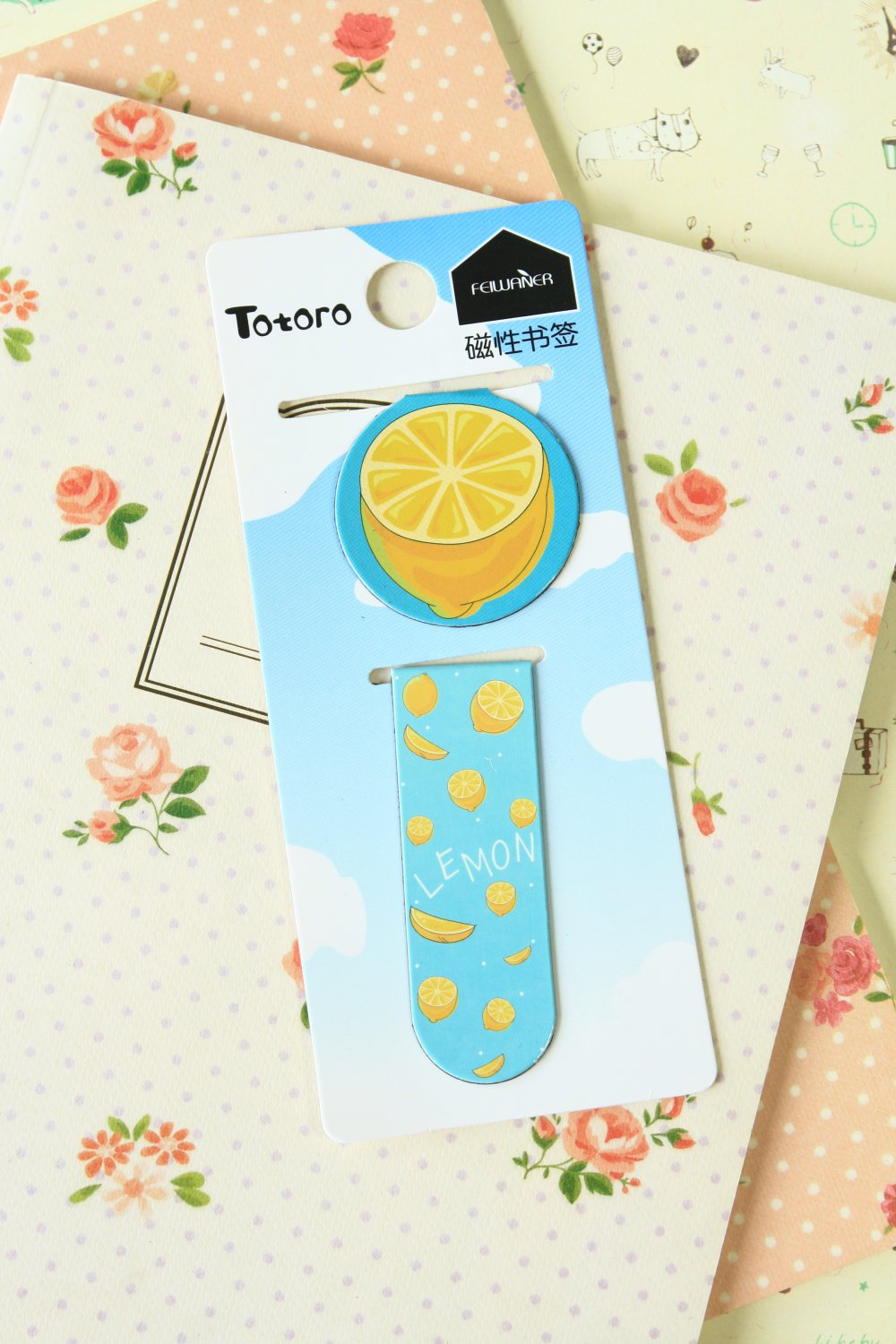 Lemon cartoon magnetic bookmark paper clips