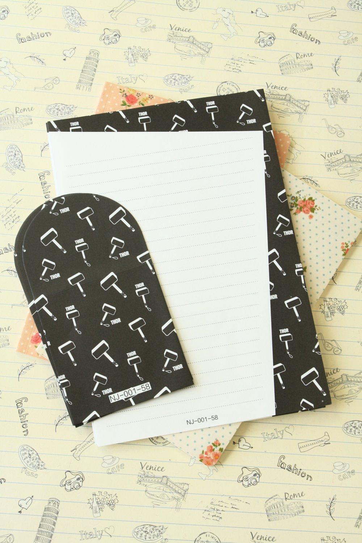 Thor Black & White writing paper and envelopes letter set
