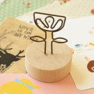 Flower Wood Memo Clip Card Holder