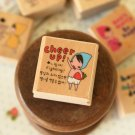 Cheer Up Pony Brown Girl Rubber Stamp