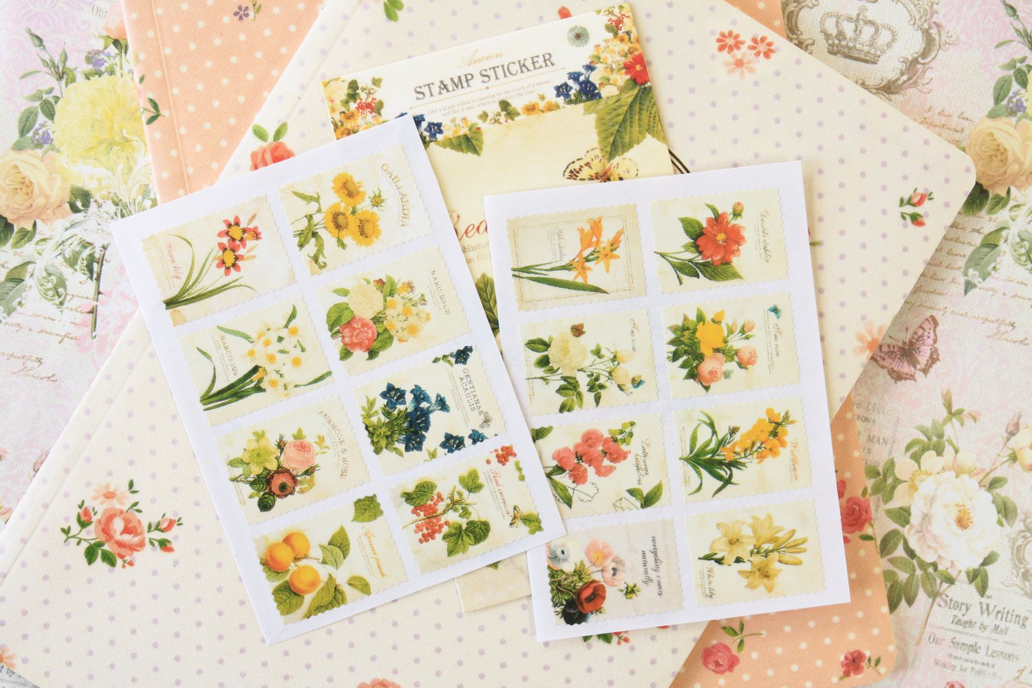 02 Botanical Ancien cartoon stamp stickers
