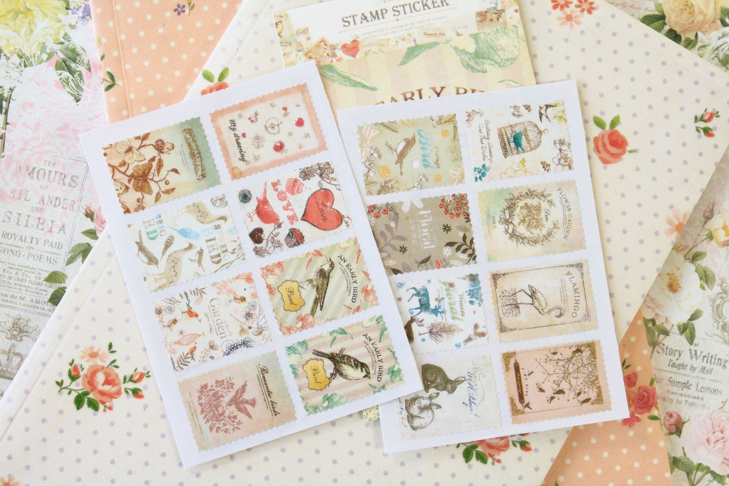 08 Natural Ancien cartoon stamp stickers