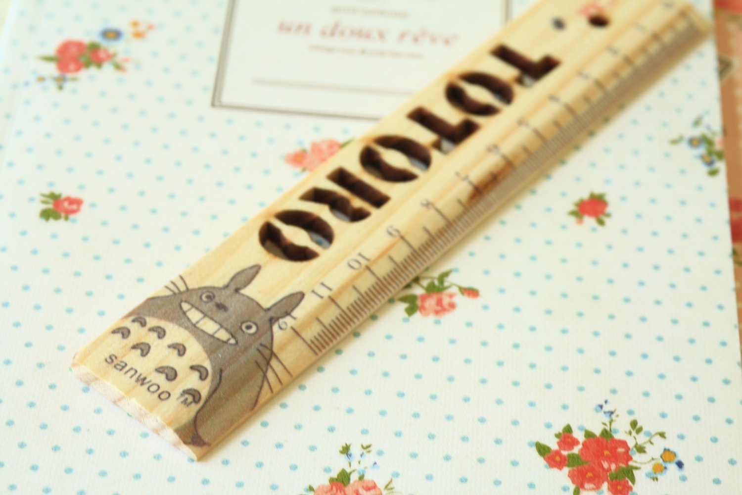 01 Totoro cartoon animal wooden Pocket Ruler