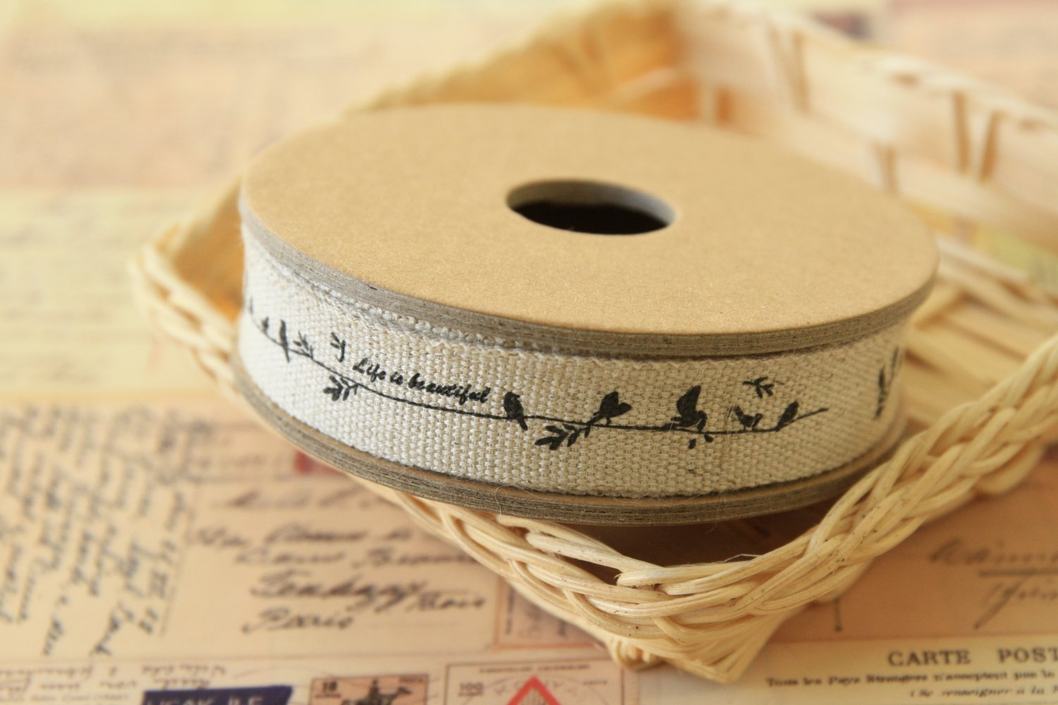 Birds Life is Beautiful cotton linen sewing tape ribbon