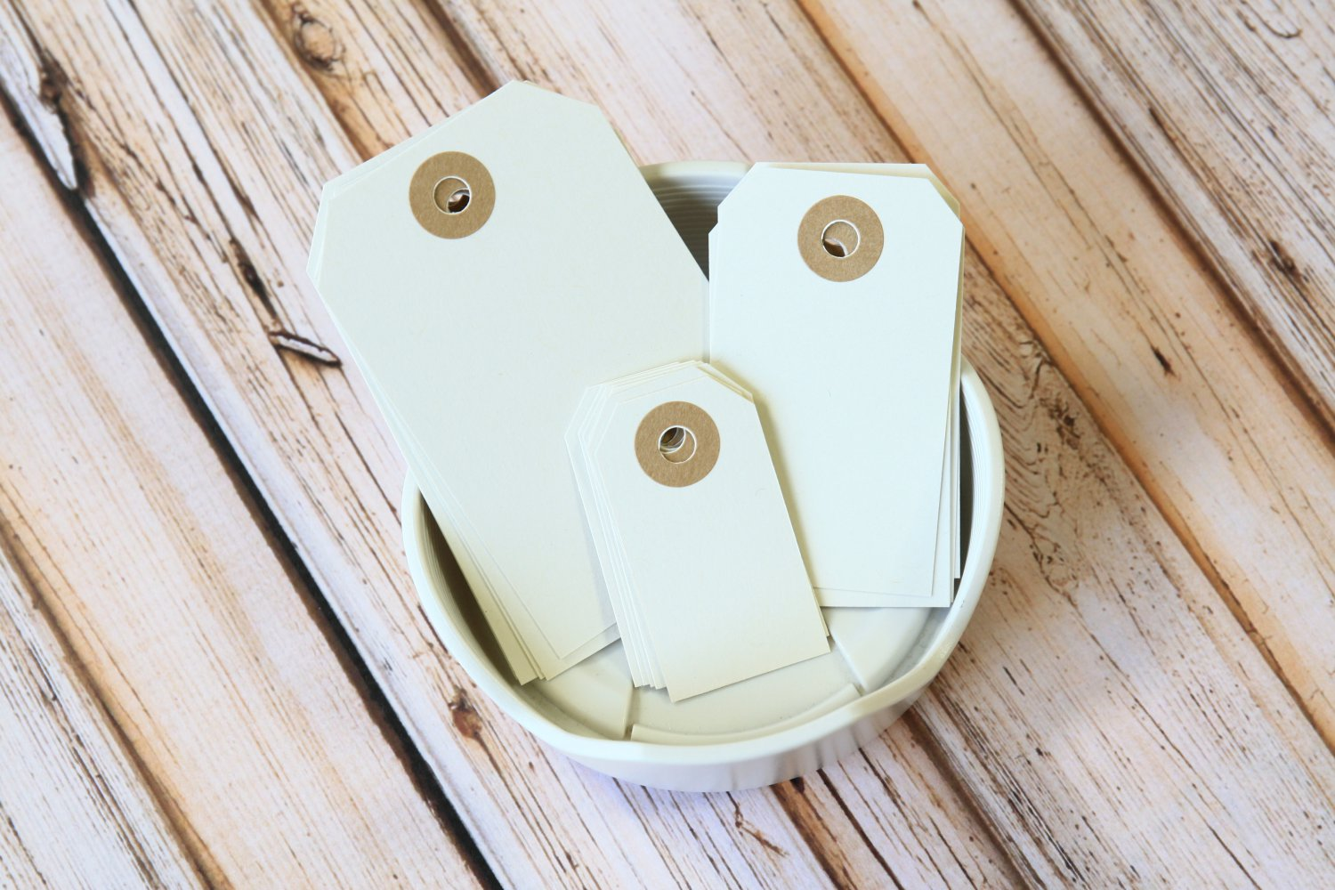 Large Ivory Magnolia reinforced luggage gift tags
