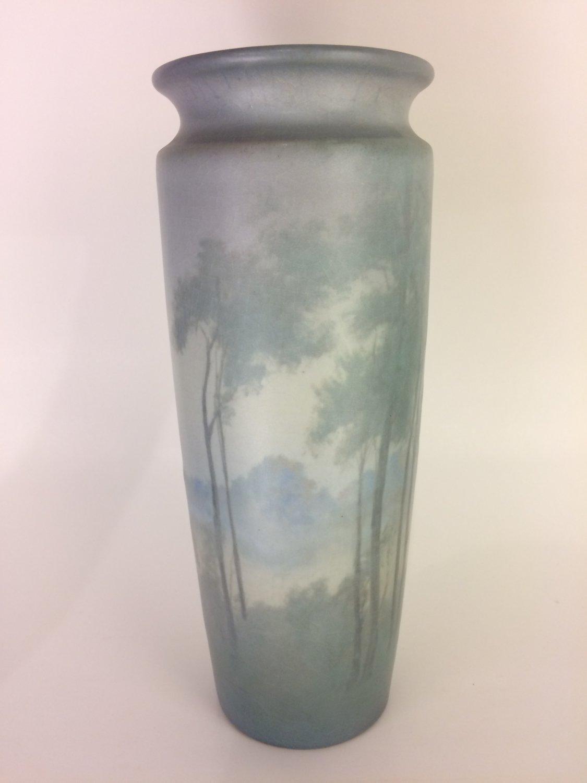 "1913 Rookwood Vellum Vase by Artist Ed Diers 9 3/4"" Scenic Misty Landscape #1882"