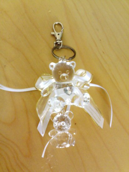 2 little bear crytal key chain