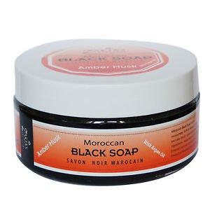 6 Pack Moroccan Black Soap PLUS  Kessa Exfoliating Glove Amber Musk Scent