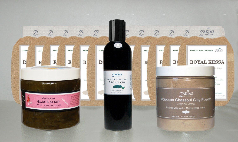 Jumbo All Natural Skin Care Moroccan Black Soap, Mask, Argan Oil-Rose Scent