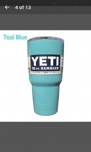 30 ounce Yeti tumbler teal blue