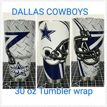 Dallas cowboys custom wrapped 30 oz