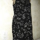 Women's black white summer sleeveless dress MIXIT knee length floral print small