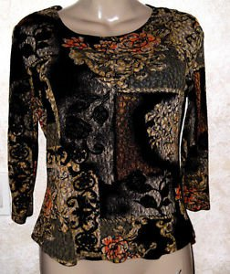 BRITTANY BLACK Women's 3/4 Sleeve Blouse Top S/M Brown, Gold & Black EUC