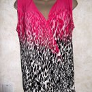 Women's CALVIN KLEIN Sleeveless Wrap Animal Print Top Blouse Size Small Gathered