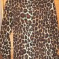 Women's long sleeve brown black button animal print blouse top INCOGNITO s/m