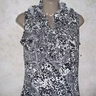 NEW! Womens Blouse S Milano Black White Animal Print Career Casual Sleeveless