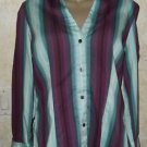 Express Design Studio Women's 3/4 Sleeve Button Cotton Blend L Blouse Striped