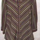 Women's blouse NOTATIONS S 3/4 sleeve multi color striped button polyester blend