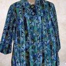 New! Women's Draper's & Damon's M Teal Blue Green Black 100% Cotton Light Jacket