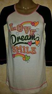 New! SO Women's Raglan Nightgown Jersey Size 10 Graphics Glitter Sleep Shirt