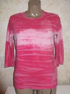 Women's GAP Long Sleeve Tie Dye Blouse Pink Multi-Colors Size Medium Stretch EUC