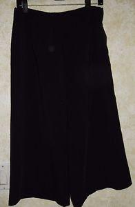 New! Women's COURTNEY Black Wide Leg Polyester Capris Size ZIpper Career Pant 8