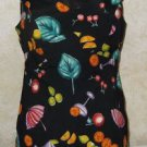 Women's Black Tank Top Sleeveless Multi-Color Fruit Zip Back RAMPAGE R-WEAR Sz 3