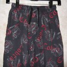 Boys Black Red Nordstrom's Cobra Lounge Pants 10/12 Drawstring Waist Button Fly