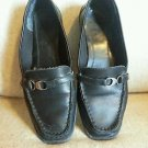 "Womens size 7.5 Croft & Barrow ""Janice"" black leather loafers GUC"