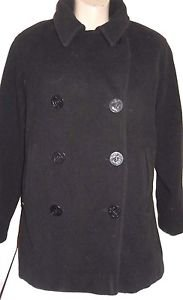 J. Percy Black Wool Peacoat Size 8 Double Breasted
