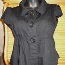 Girls Jrs. solid black short sleeve blouse PARIS BLUES size M 100% cotton flare