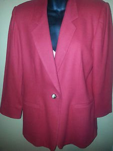 WHITE STAG Women's 100% Wool Blazer Size XL Fully lined, LS, Color Red. GUC