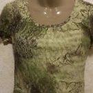 New! Women's ALFANI PETITE Semi Sheer Blouse Multi-Color Green 100% Nylon P/S SS